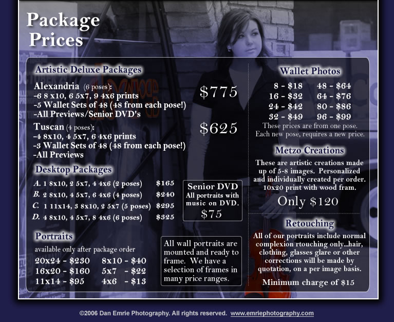 Dan Emrie Photography - Senior Package Prices